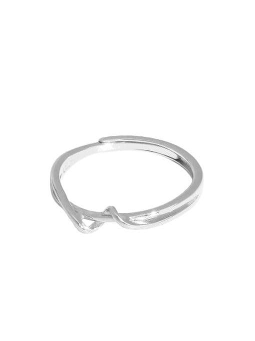 Platinum [14 adjustable] 925 Sterling Silver Irregular Minimalist Band Ring